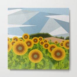 SUNFLOWERS (geometric flowers abstract) Metal Print