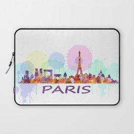 Paris City Skyline HQ, Watercolor Laptop Sleeve