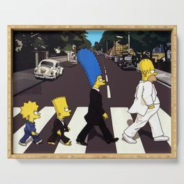 Crossing Abbey Road cartoon animation Serving Tray