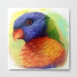 Rainbow lorikeet realistic painting Metal Print