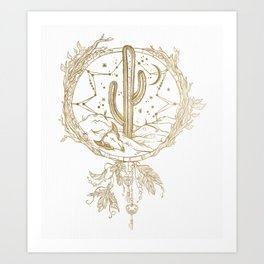 Desert Cactus Dreamcatcher in Gold Art Print