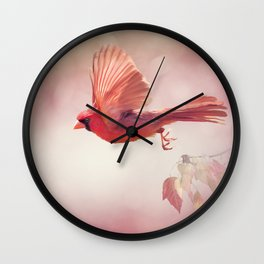 Male Northern Cardinal Flying  ,watercolor painting Wall Clock