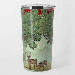 Vintage Japanese Woodblock Print Nara Park Deers Green Trees Red Japanese Maple Tree Travel Mug