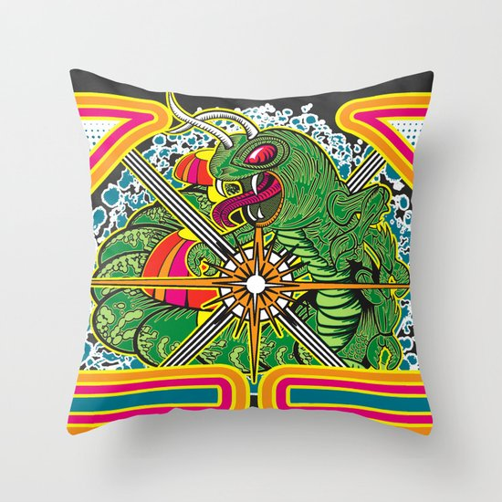 Classic Centipede Woodcut Throw Pillow