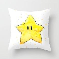 Invincibility Star Mario Watercolor Geek Gamer Art Throw Pillow