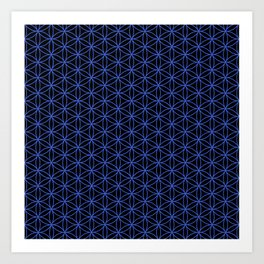 Flower of Life Pattern – Blue on Black Art Print