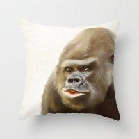 gorilla Throw Pillows featuring Gorilla by Asya Solo