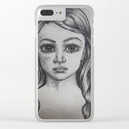 Her Lovely Curls Clear iPhone Case