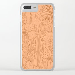 Cactus Scene in Orange Clear iPhone Case