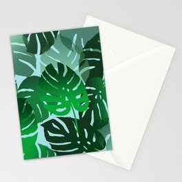 Green Big Monstera Leaves - blue Stationery Cards