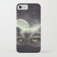 owl iPhone & iPod Cases featuring Owl & The Moon by Dr. Lukas Brezak