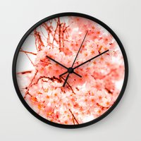 cherry blossoms Wall Clocks featuring Cherry Blossoms by 2sweet4words Designs