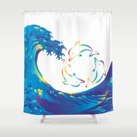 hokusai Shower Curtains featuring Hokusai Rainbow & rotating dolphins_D by FACTORIE