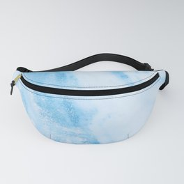 Shimmery Blue Clouds Marble Metallic Fanny Pack