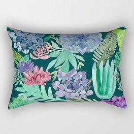 Watercolor Succulent Collage Rectangular Pillow