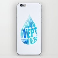 bible verses iPhone & iPod Skins featuring Typographic Motivational Bible Verses - John 11:35 by The Wooden Tree