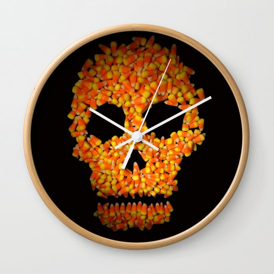 Candy Corn Skull Wall Clock