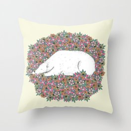 Bear in the Flowers Throw Pillow