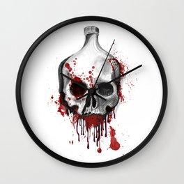 Alcohol bottle in death skull. Wall Clock