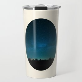 Forest Silhouette Against Milky Way Blue Star Sky Travel Mug