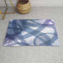 Blue Purple Watercolor Circles Rug