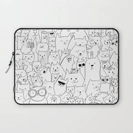 Black and white cat colouring Laptop Sleeve