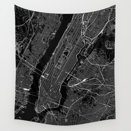 New York City Black Map Wall Tapestry