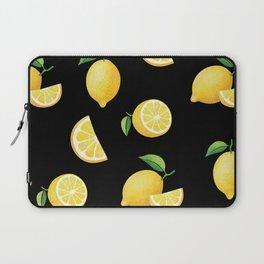Lemons on Black Laptop Sleeve