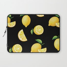 Lemons on Black Laptop Sleeve