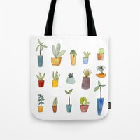 cactus Tote Bags featuring Cactus by Sandra Ovono - Watercolor Art Studio