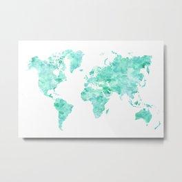 Teal aquamarine watercolor world map Metal Print