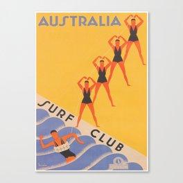 Australia Surf Club Vintage Travel Poster Canvas Print
