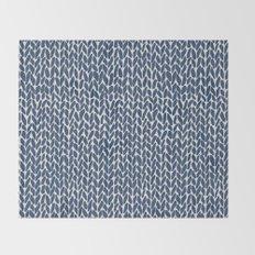 Hand Knit Navy Throw Blanket