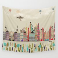 england Wall Tapestries featuring visit london england by bri.buckley