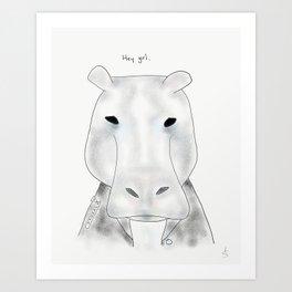 benny hippopotamus Art Print