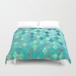 Aqua Teal Mint and Gold Oriental Moroccan Tile pattern Duvet Cover