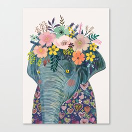 Elephant with flowers on head Canvas Print