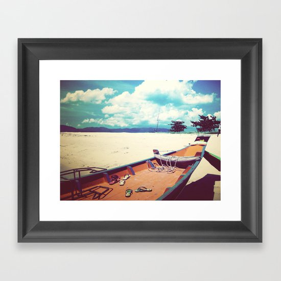 Longboat on the Shore, Thailand Framed Art Print
