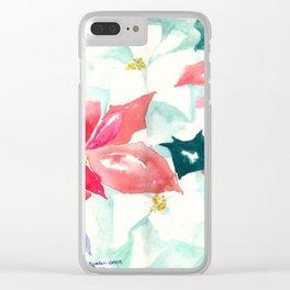 Poinsettia Cheer Clear iPhone Case
