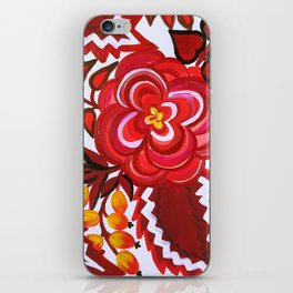 Red And Black Floral Gouache & Acrylic Slavic Folk Art iPhone Skin