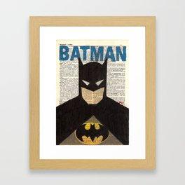 Book Page Bat man Framed Art Print
