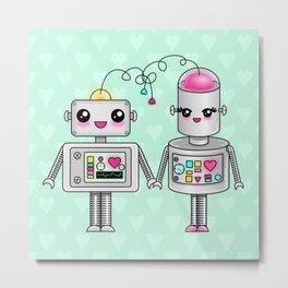 Cute robots in love Metal Print