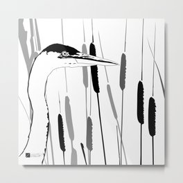 Great Blue Heron - Grayscale Metal Print
