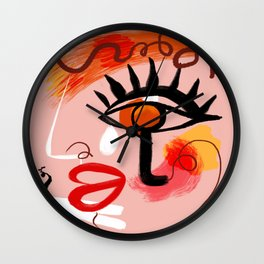 Face Blush Pink Abstract Wall Clock