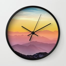 sky blue yellow orange purple Wall Clock