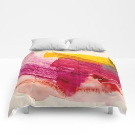 Pink Lemonade: a minimal, colorful abstract mixed media with bold strokes of pinks, and yellow Comforters