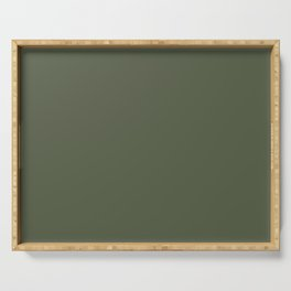 Abstract Solid Color Chive Green 565d47 Serving Tray