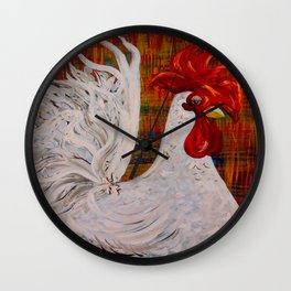 I Know I am Lovely - White Rooster Wall Clock