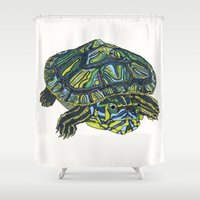 turtle Shower Curtains featuring Turtle by Aina Serratosa