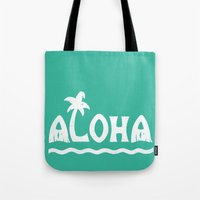 aloha Tote Bags featuring Aloha! by Dylan Morang